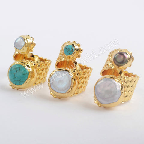 Gold Plated Natural White Pearl Gemstone Blue Howlite Turquoise Wrap Double Stone Ring G1883-1