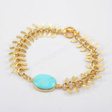 Oval Gold Plated Natural Turquoise Bracelet Bangle ZG0168
