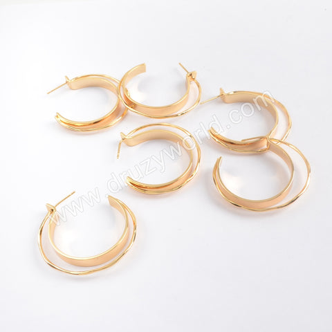 10PCS/bulk,Gold Plated Brass Double Half Circle Earring Finding PJ243