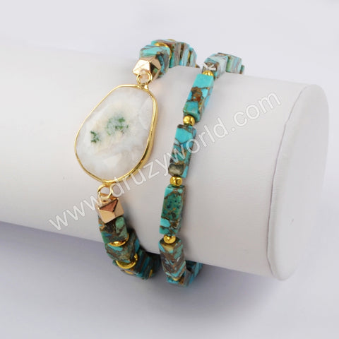 Gold Plated Natural Moon Stone With Square & Rectangle Cooper Turquoise Beads Bracelet Set G1824