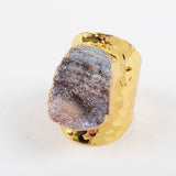 Gold Plated Galaxy Quartz Titanium Rainbow Chalcedony Band Ring G1339
