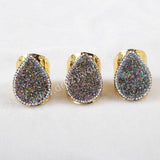Teardrop Natural Agate Titanium Multi-color Druzy Band Ring Paved Zircon JAB374