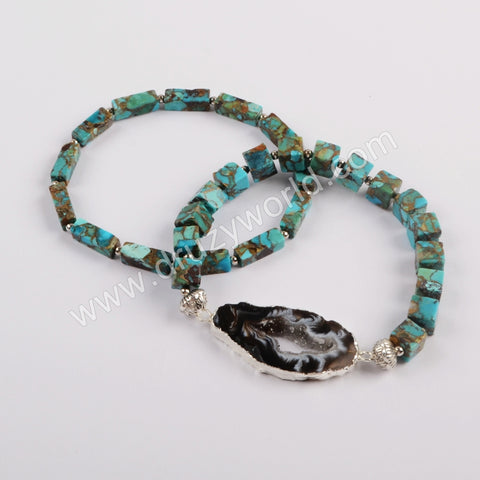 Silver Plated Natural Onyx Agate Druz Slice With Square & Rectangle Cooper Turquoise Beads Bracelet Set G1825