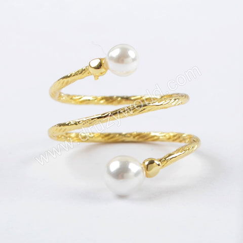 Gold Wire Wrap Double Pearl Rings WX1024