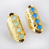 Gold Plated Bezel Round Four Opal Faceted Band Bar Ring ZG0340