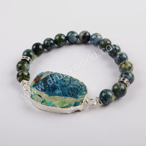 Silver Plated Natural Chrysocolla Stone With 8mm Chrysocolla Stone Beads Bracelet G1826