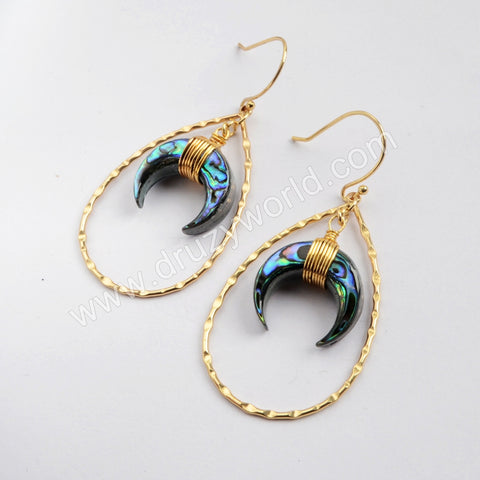 Gold Plated Abalone & Brown Shell Horn Teardrop Earring G1585