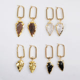 Multi Kind Stone Arrowhead Rectangle Earrings Gold Plated G1586