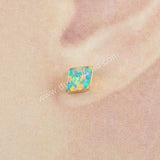Gold Plated Diamond White Opal Studs G1421