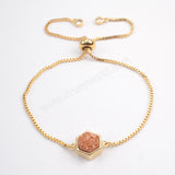 Gold Plated Bezel Hexagon Titanium Druzy Adjustable Bracelet ZG0220