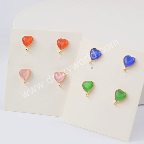 Natural Multi-kind Stones Statement Stud Earrings Gold Plated WX1388