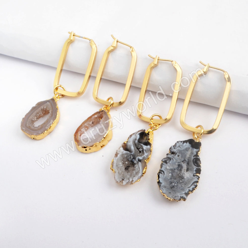 Gold Plated Agate Druzy Slice Rectangle Earring G1587