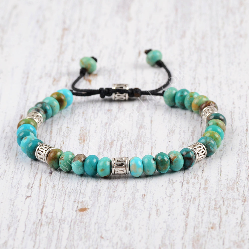 Natural Turquoise Beaded Bracelet Adjustable Handmade Boho Chic Jewelry HD0086