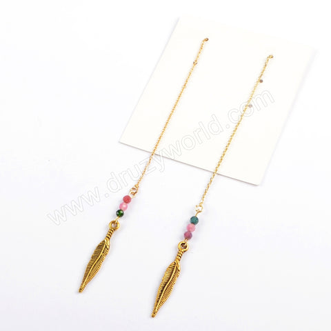 Boho Chic Leave Beads Ajustable Dangle Earrings Simple Fashion Summer Jewelry HD008