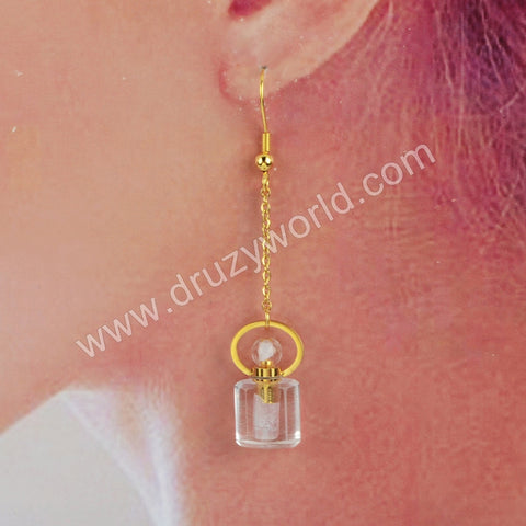 Gold Natural Stone Perfume Bottle  Earrings WX1190