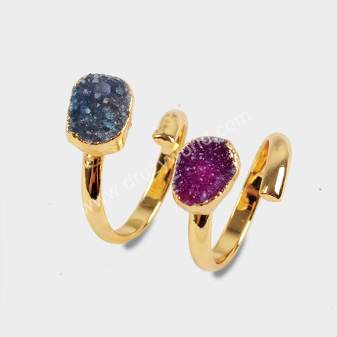 Gold Plated Wire Wrapped Rainbow Druzy Ring G1540