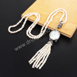 Rhinestone Pave Natural Round Pearl 5mm Beads Necklace JAB580