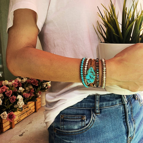 Boho Gold Plated turquoise Beads Bracelet Vintage Leather Wrap Bracelet HD0075