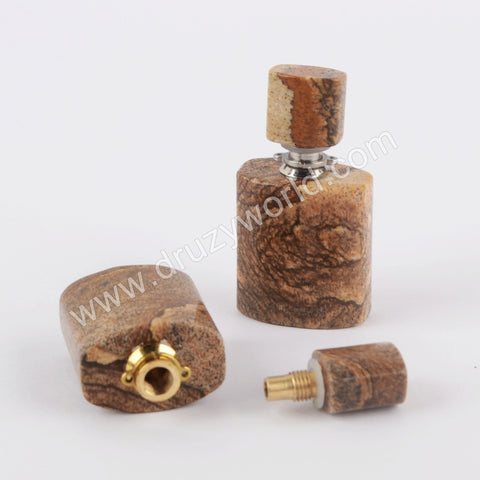 Gold/Silver Natural Picture Stone Perfume Bottle Connector WX1201