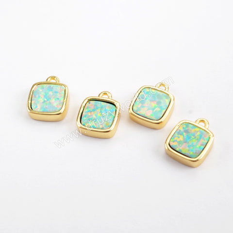 Square Gold Plated Blue Opal Bezel Charm Pendant Bead ZG0266