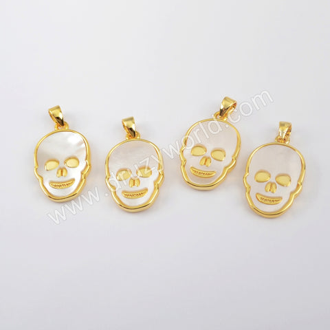 Gold Plated White Shell Skull Pendant WX1218