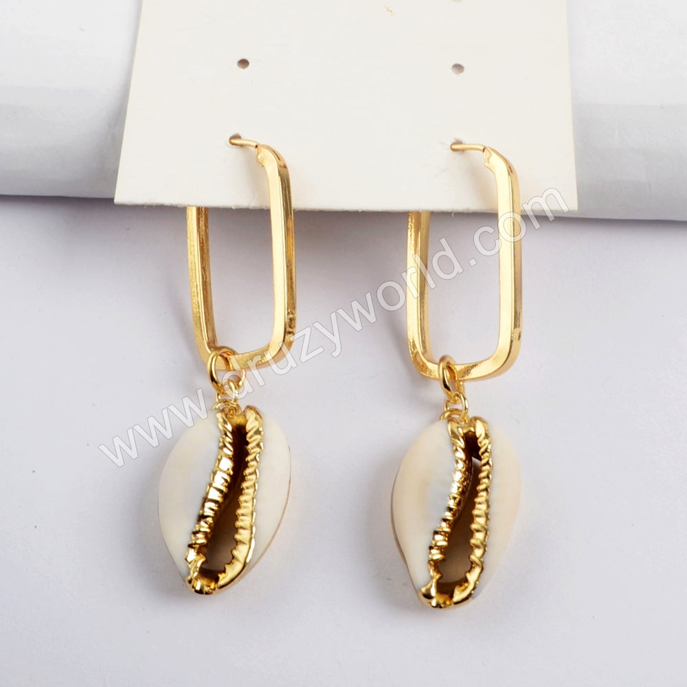 Gold Plated Cowrie Shell Rectangle Earring G1589