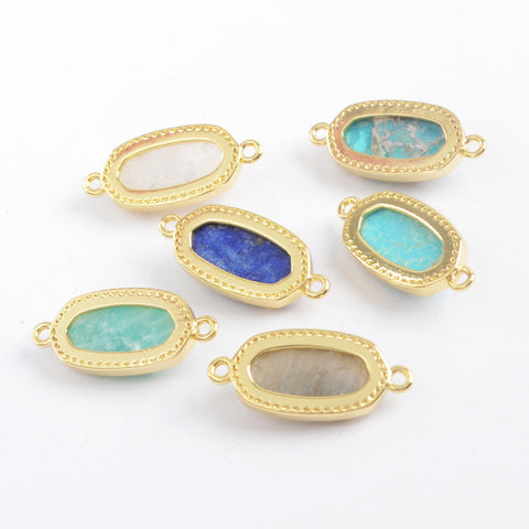 Gold Plated Bezel Hexagon Faceted Natural Stone Connector ZG0372