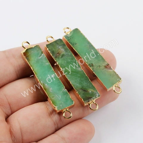Gold Plated Rectangle Australia Jade Connector G1919