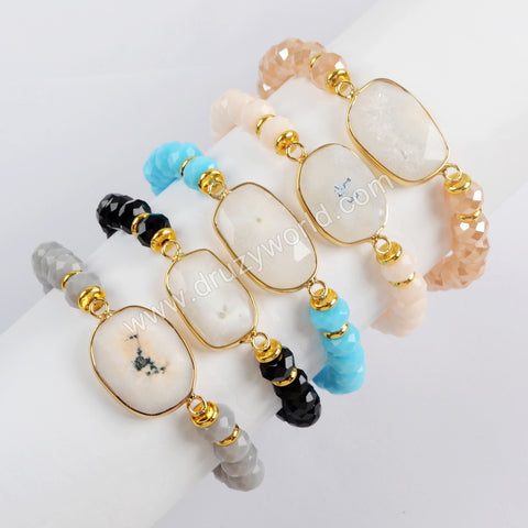 Gold Plated Natural White Solar Quartz Faceted With 8mm Crystal Beads Bracelet G1551