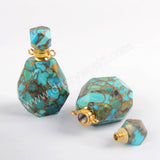 Natural Gold Crack Turquoise Perfume Bottle Connector PB001