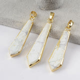 Gold plated Arrowhead White Howlite Pendant WX878