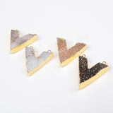 Gold Plated Chevron Natural Agate Druzy Geode Connector Double Bails G0669
