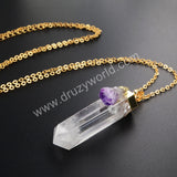 Gold Plated Cluster Aura Druzy Quartz Crystal Point & Natural Amethyst Druzy Pendant WX009