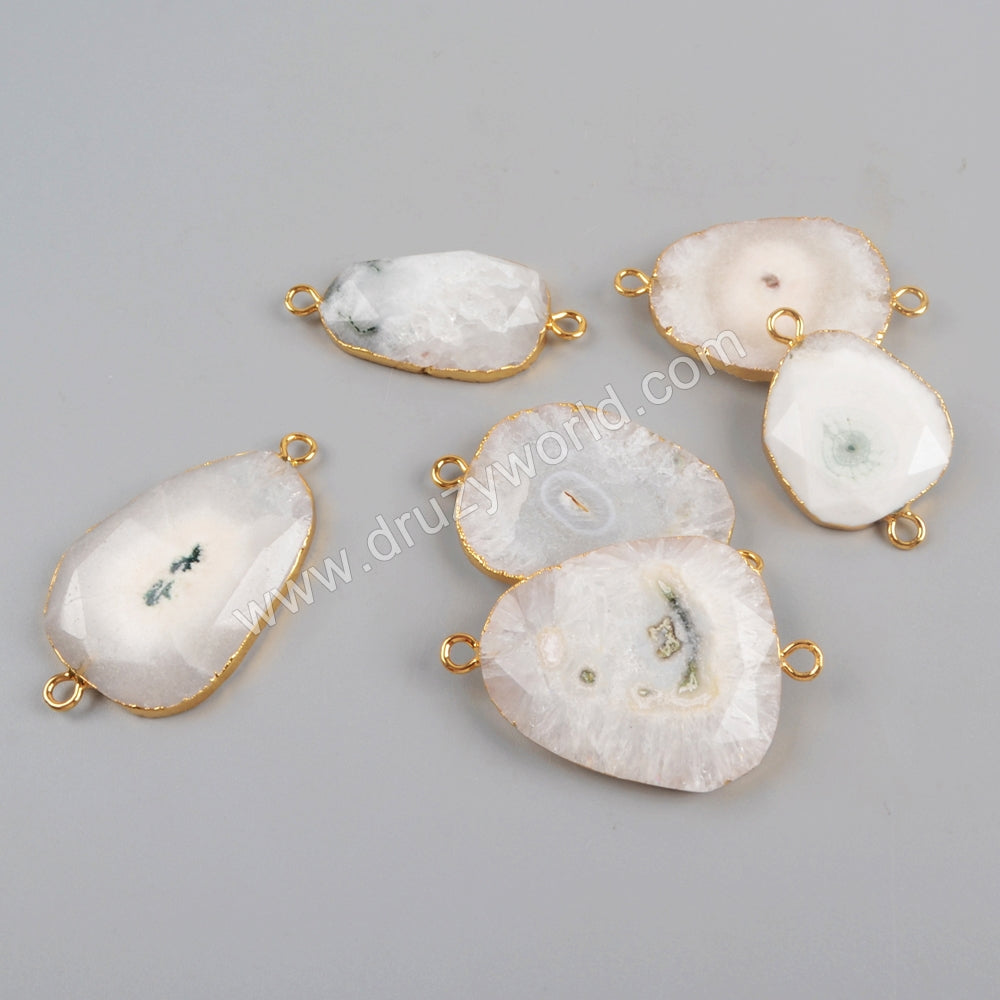 Gold Plated Natural White Solar Quartz Faceted Connector G1427