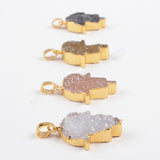 Gold Plated Natural Palm Agate Druzy Geode Pendant Bead G0866