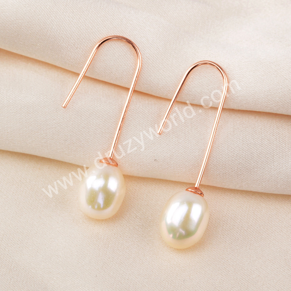 Natural Pearl Rose Gold Earrings 925 Sterling Silver WX1369