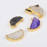 Gold Plated Half Moon Rainbow Agate Druzy Geode Connector Purple Black AB Color G0677