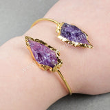 Adjustable Gold Plated Two Natural Amethyst Bracelet G0717