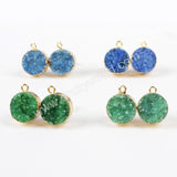 Gold Plated Green Color Round Agate Druzy Ear Stud Post G1021