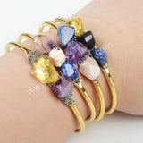 Gold Plated Natural Multi-Kind Stones Bangle G1022