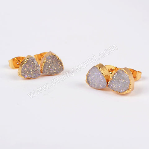 8mm Gold Plated Triangle Natural Agate Titanium AB Druzy Stud Earrings G0682