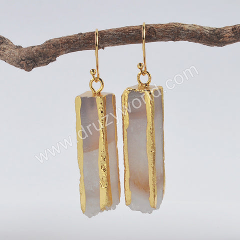 Gold Plated Cuboid Natural Agate Druzy Dangle Earrings G1999-E