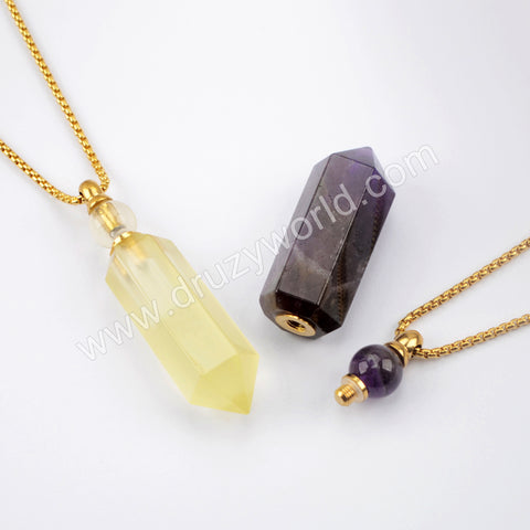 "19"" Gold Chain Healing Natural Stone Crystal Point Perfume Bottle Necklace WX1507"