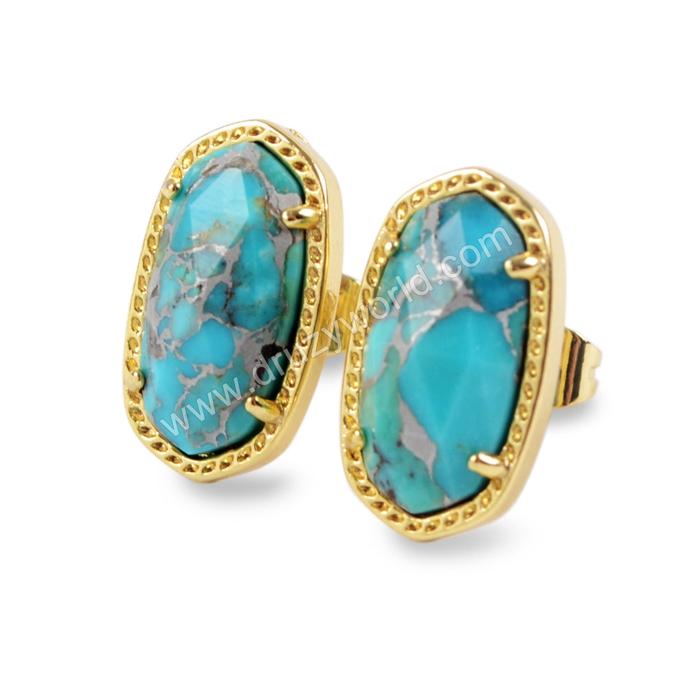 Claw Set Faceted Gemstone Gold Stud Earrings ZG0324