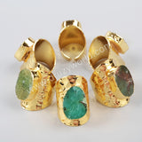 Gold Plated Natural Australia Jade Band Ring G1035