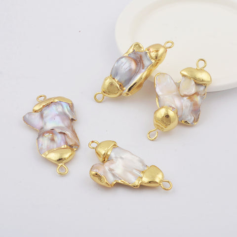 Natural Pearl Gold Connector for Jewelry Handmade WX1818