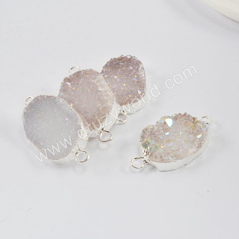 Silver Plated Natural Agate Titanium AB White Druzy Connector S1992