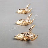 Longhorn resin horn cattle pendants, bull cattle pendants with full gold plated G0843