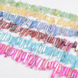 "16"" Strand Of Rainbow Aura Quartz Titanium Druzy Quartz Crystal Point Loose Beads G0796"