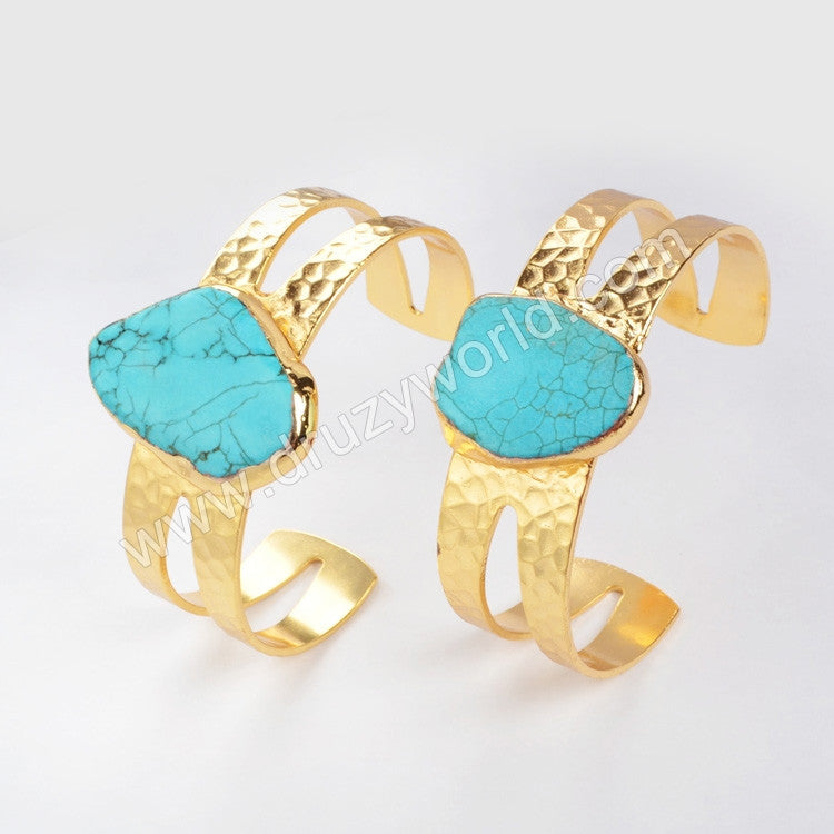 Gold cuff blue howlite turquoise bangle gold plated freeform turquoise gemstone jewelry